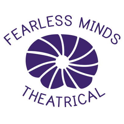 purple logo of a brain with a sun radiating from the center and the words fearless minds theatrical