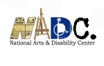 The letters NADC made out of sheet music, an easel, the disability symbol and the letter C from a typewriter over the words National Arts and Disability Center