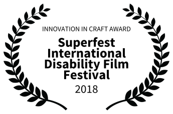 Innovation in Craft Award Superfest International Disability Film Festival 2018 in black nested inside laurels to left and right