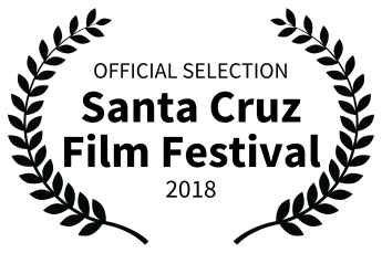 Official Selection Santa Cruz Film Festival 2018 in black nested inside laurels to left and right