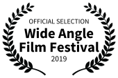 Official Selection Wide Angle Film Festival 2019 in black nested inside laurels to left and right